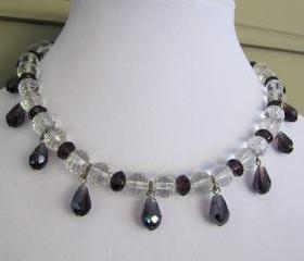 Stunning cut crystal beaded necklace with amethyst faceted tear drop dangles with silver accents